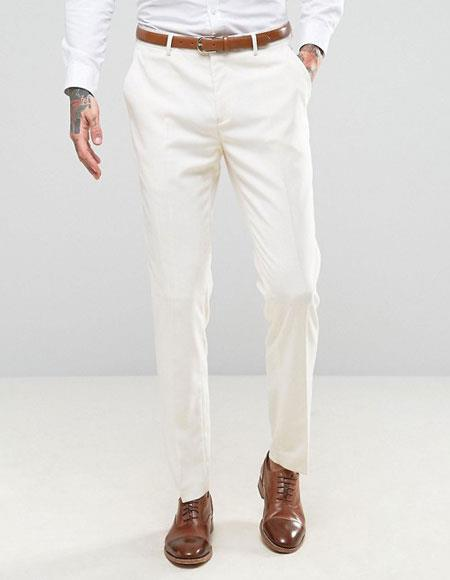 Mens ivory ~ cream Flat Front Pants Slacks  - Cheap Priced Dress Slacks For Men On Sale