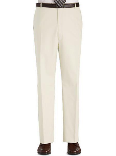 Buy ITY4 Stage Party Pants Trousers Flat Front Regular Rise Slacks - Ivory
