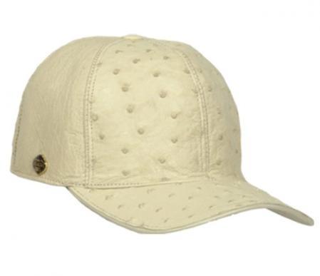 SKU#KA1339 Los Altos Cream ~ Ivory ~ Off White Genuine Ostrich Baseball Hat