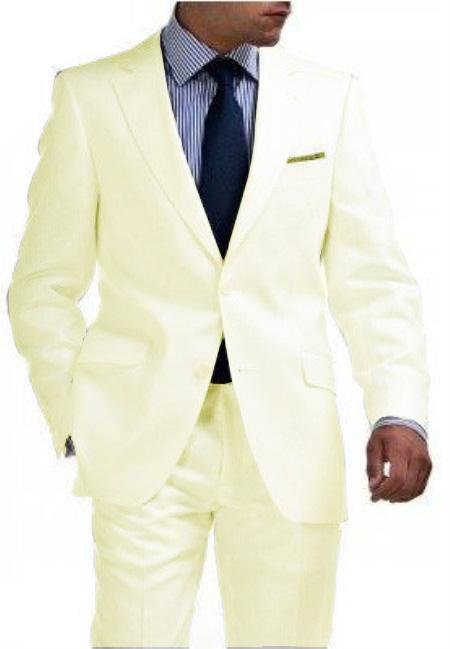 SKU#CRM8912 Light Weight Ivory ~ Off White 2 Button Tapered Cut Half Lined Flat Front Slim Fit Suit Vented Cream
