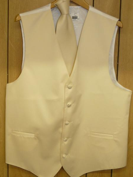 IVORY  GROOMSMEN DRESS TUXEDO WEDDING Vest ~ Waistcoat ~ Waist coat & TIE SET Buy 10 of same color Tie For $25 Each
