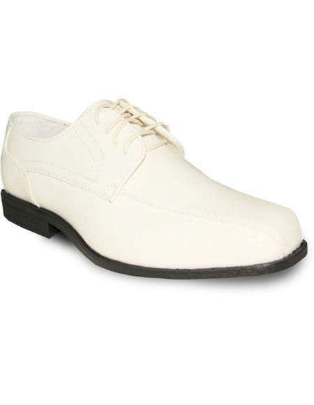 Men's Oxford Tuxedo Ivory ~ Cream ~ Off White Patent Formal For Men's Prom Shoe & Wedding Lace Up Dress Oxford Men's Tuxedo Shoe For Men Perfect For Wedding - Men's Shiny Shoe