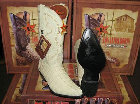 Los Altos Cream ~ Ivory ~ Off White Genuine Crocodile ~ World Best Alligator ~ Gator Skin Tail Western Cowboy Boot