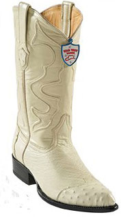 Wild West Cream ~ Ivory ~ Off White J-Toe Smooth Ostrich Wing Tip Cowboy Boots - Botas De Avestruz