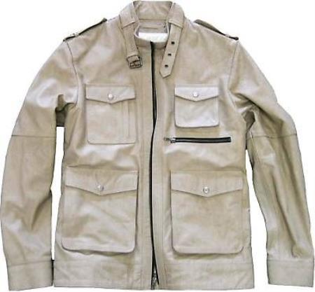 SKU#KA7052 Mens Military Genuine Leather Jacket Slim Fit tanners avenue jacket