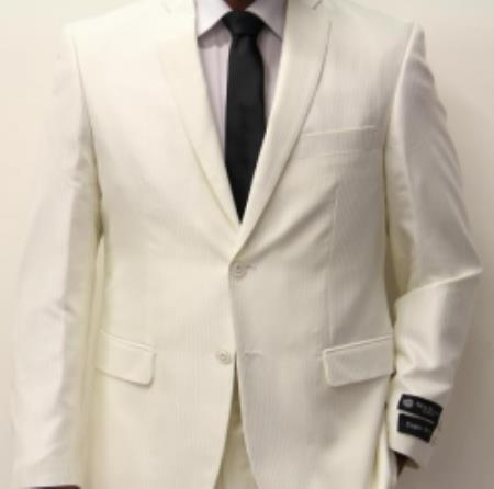 SKU#VR08 Off White~Cream~Ivory Pinstripe Shadow Pattern 2 Button Suit Flat Front Pants