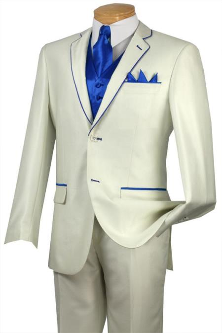 Tuxedo Dress Suits for Men Royal Blue Trim Lapel Two Button Notch Two Toned No Vest Choice Of Solid White Or Ivory