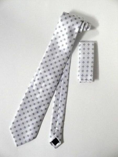 Tie Set Ivory/White With Gray Squares Design