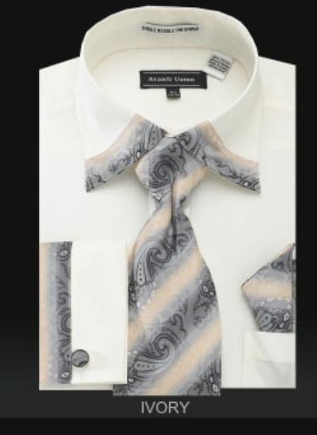 SKU#HZ201 Ivory French Cuff Dress Shirt Set $65