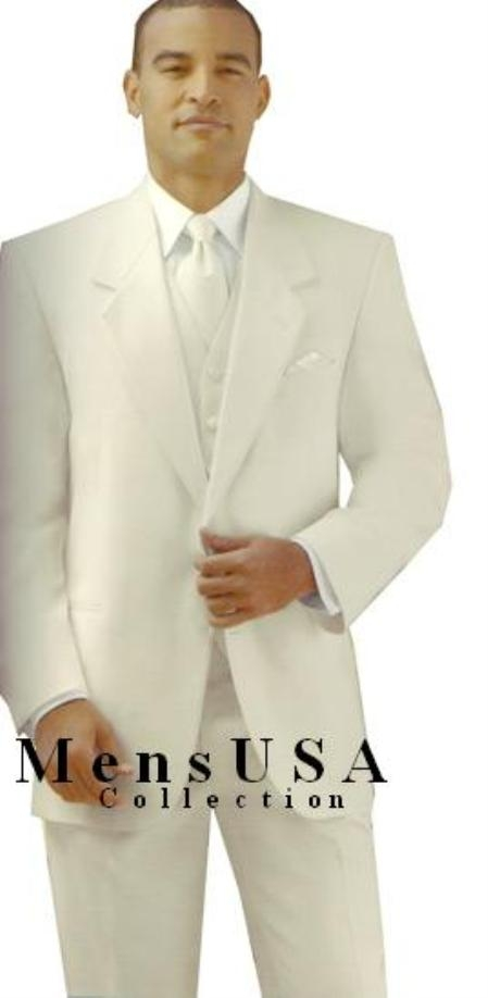 SKU# Y724GA Ivory/Off White/Cream 2 button Style jacket Notch Lapel Tuxedo single breasted non-vented back