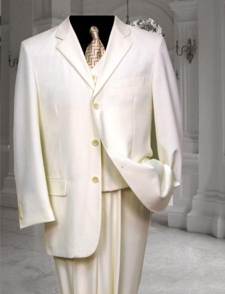SKU#AM901 Ivory~Off White~Cream 3 Button three piece suit With a Vest Hand Made $199