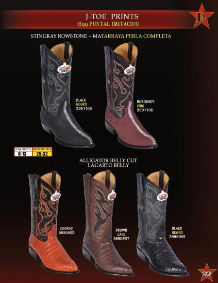 Los Altos Mens J-Toe Stingray mantarraya skin World Best Alligator ~ Gator Skin Print Cowboy Western Boot ~ botines para hombre Diff. Colors
