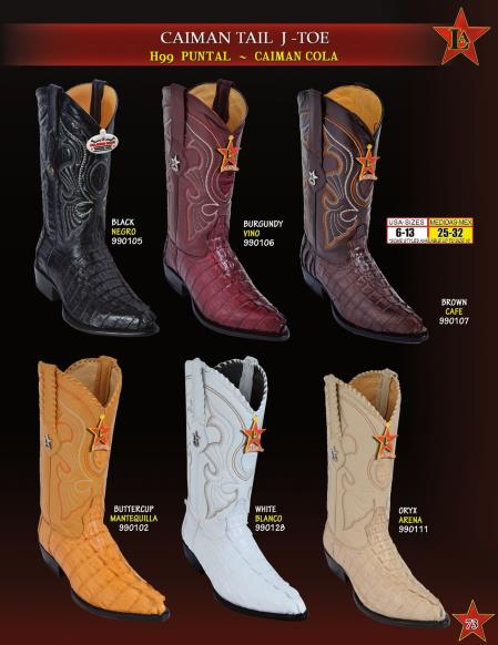 Los Altos Mens J Toe Genuine caiman ~ World Best Alligator ~ Gator Skin Tail Cowboy Western Boots
