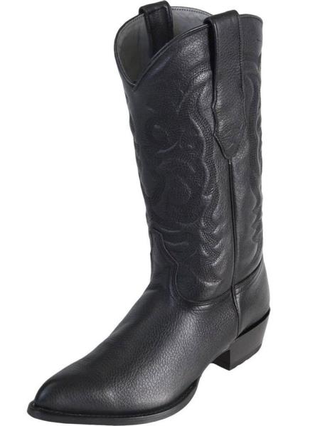 Los Altos Mens Black Genuine Elk Leather J Toe Handmade Replaceable Heel Dress Cowboy Boot Cheap Priced For Sale Online