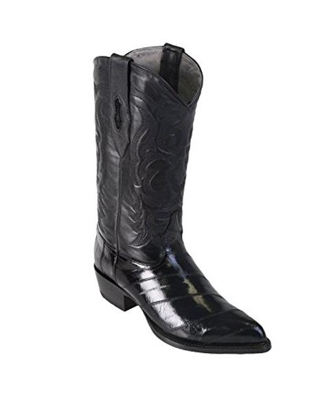 Men's Black King Eel Skin J-Toe Los Altos Boots  Dress Cowboy Boot Cheap Priced For Sale Online ~ botines para hombre With saddle Vamp- Botas De Anguila