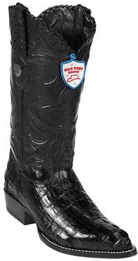 Wild West J-Toe Black caiman ~ World Best Alligator ~ Gator Skin Tail Cowboy Boots