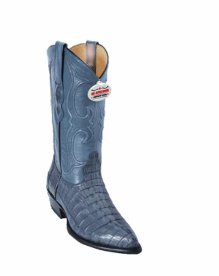 SKU#LG6299 Blue Gray Tail J-Toe Cowboy Boots