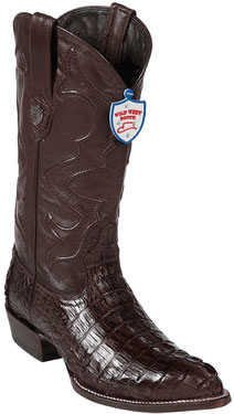 Wild West J-Toe Brown caiman ~ World Best Alligator ~ Gator Skin Tail Cowboy Boots