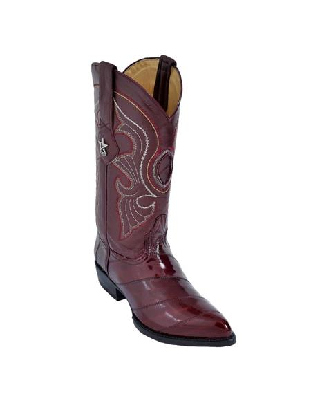 Mens Burgundy ~ Wine ~ Maroon Color King Eel Skin J-Toe Los Altos Dress Cowboy Boot Cheap Priced For Sale Online ~ botines para hombre With Saddle Vamp