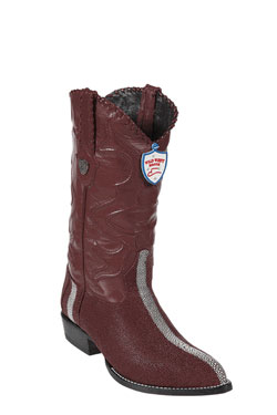 Wild West J-Toe Burgundy ~ Maroon ~ Wine Color Rowstone Finish Boots