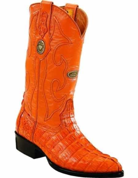 Mens Genuine Caiman Tail Full Leather Lining J Toe Buttercup Handmade Boots