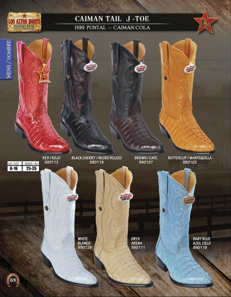 Buy URE3 Los Altos J-Toe Genuine caiman ~ World Best Alligator ~ Gator Skin Tail Mens Western Cowboy Boots Diff. Colors/Sizes
