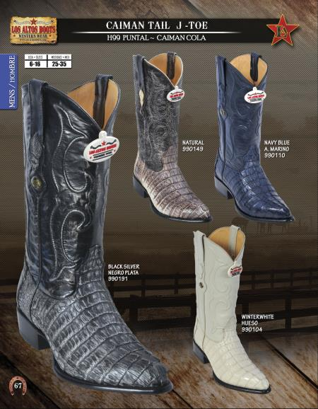 SKU#2C3D Los Altos J-Toe Genuine caiman ~ alligator Tail Mens Western Cowboy Boots Diff. Colors/Sizes
