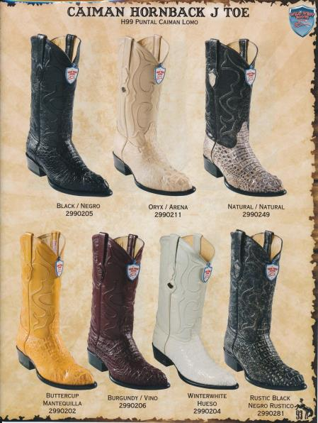 Wild West J-Toe Genuine caiman ~ World Best Alligator ~ Gator Skin Hornback Cowboy Boots Diff. Colors/Sizes Black/Natural/Oryx/Buttercup