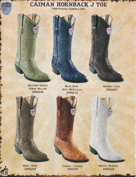 SKU#2DD3 J-Toe Genuine caiman ~ alligator Hornback Cowboy Boots Diff. Colors/Sizes Green/Mink/Cognac