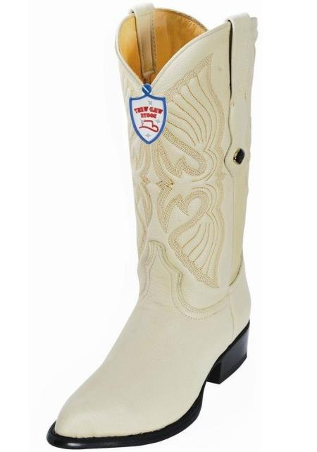 Wild West Mens Handcrafted Genuine Elk Leather Cream J Toe Style 1.5 Heel Dress Cowboy Boot Cheap Priced For Sale Online