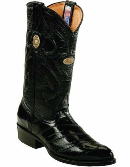 Buy SM2831 Men's Genuine Eel Skin Handcrafted J Toe Style Full Leather Lining Black Boots