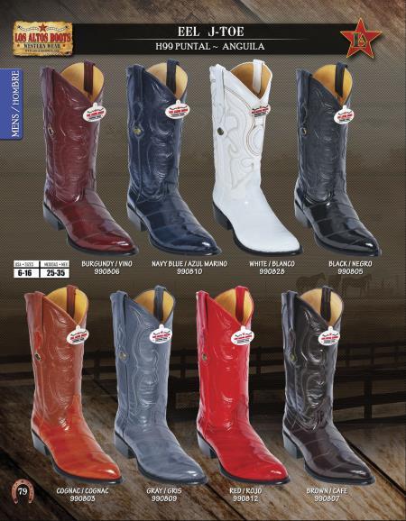 Los Altos J-Toe Genuine Eel Mens Western Cowboy Boot ~ botines para hombre Diff. Colors/Sizes
