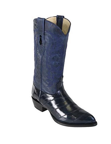 Mens Navy Blue King Eel Skin J-Toe Los Altos Boot ~ botines para hombre With Saddle Vamp