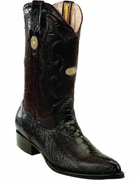 Mens Genuine Black Ostrich Leg Skin With Full Leather Pull Straps J Toe Style Boots