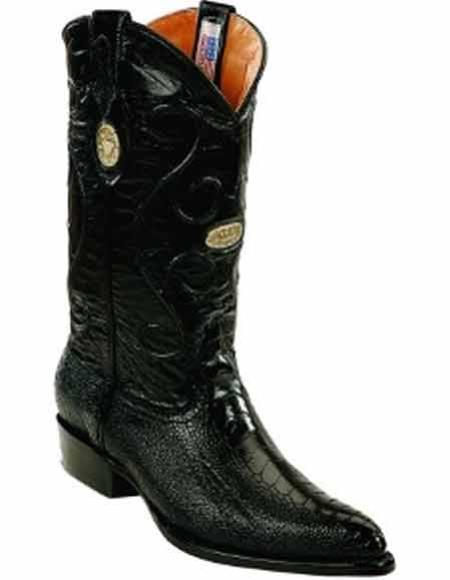 Mens Black Genuine Ostrich Leg Skin With Replaceable Heel Cap J Toe Style Boots