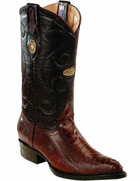 Mens Genuine Ostrich Leg Skin J Toe Handcrafted Boots Brown With Leather Insole