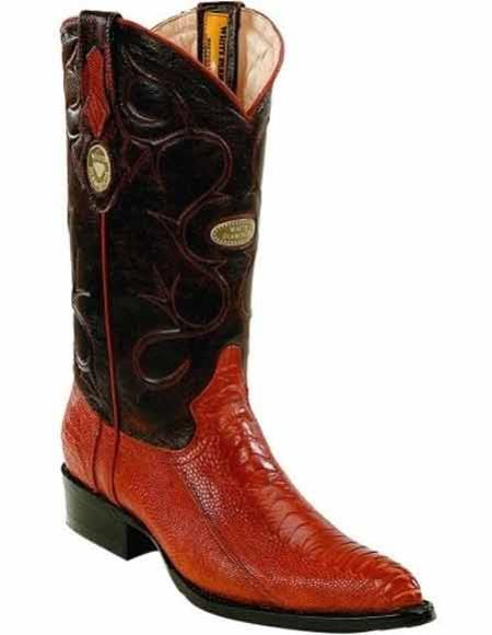 Mens Cognac Genuine Ostrich Leg Skin J Toe Style Boots With Full Leather Pull Straps