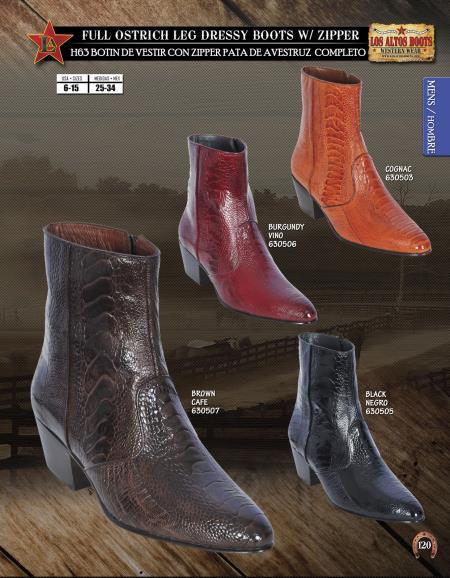 Los Altos J-Toe Ostrich Mens Dressy Western Cowboy Boot Diff. Colors/Sizes