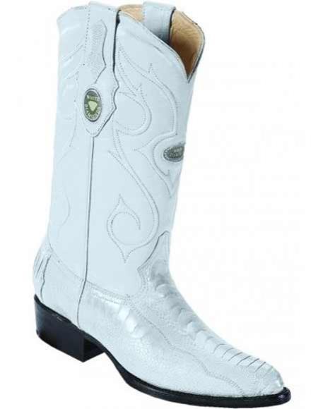 Mens Genuine Ostrich Leg Skin J Toe With Full Leather Pull Straps White Boots