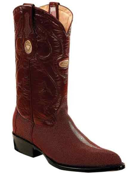 Mens Leather Genuine Stingray mantarraya skin Burgundy ~ Wine ~ Maroon Color J Toe Handmade Boots With Replaceable Heel Cap