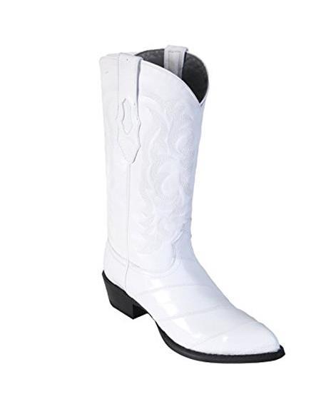 Men's White King Eel Skin J-Toe Los Altos Boots  Dress Cowboy Boot Cheap Priced For Sale Online ~ botines para hombre With Saddle Vamp- Botas De Anguila