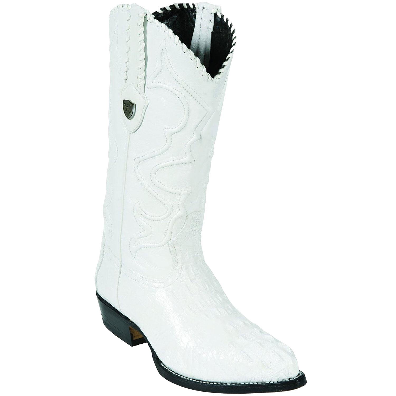 Wild West J-Toe White caiman ~ World Best Alligator ~ Gator Skin Tail Cowboy Boots