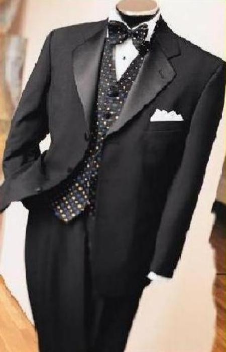 SKU# JPL-90 JET Black Super 150s 3 Button Tuxedo Jacket + Pants + Black Vest + Shirt+BowTie