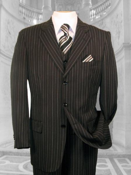 SKU#NSW34 JP-56 BLACK W/ WHITE PINSTRIPE EXTRA FINE SUPER 120S SUIT $179