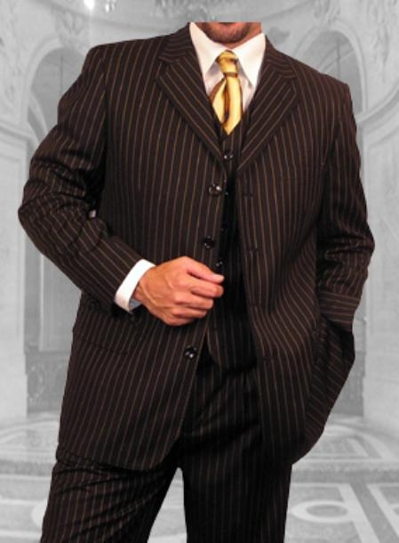 SKU#WE345 JPR-24 BLACK W/ GOLD STRIPE EXTRA FINE SUPER 150S SUIT $179