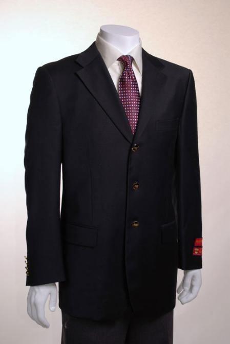 SKU#PJ522 Jacket/Blazer 3 Button Vented Solid Black Wool
