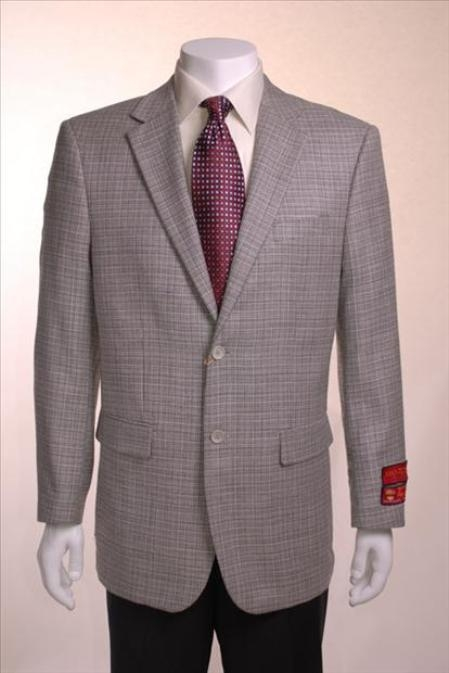 SKU#TF734 Houndstooth textile pattern checks in black and white Jacket/Blazer Gray Basketweave 2 Button Vented Wool