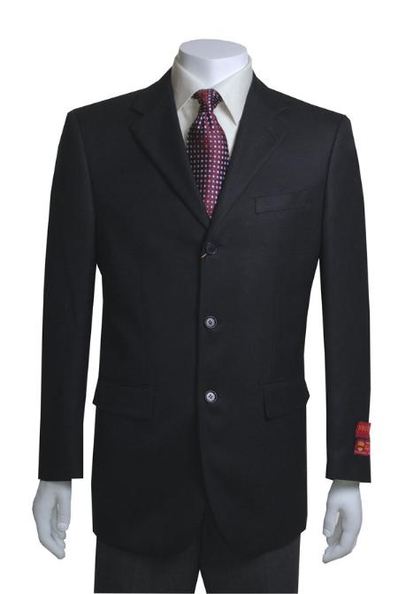 SKU#MO551 Jacket/Blazer 3 Button Vented in Black Basketweave