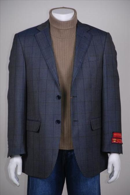 SKU#NH735 Jacket/Blazer Checker Glen Plaid 2 Button Vented Wool Navy