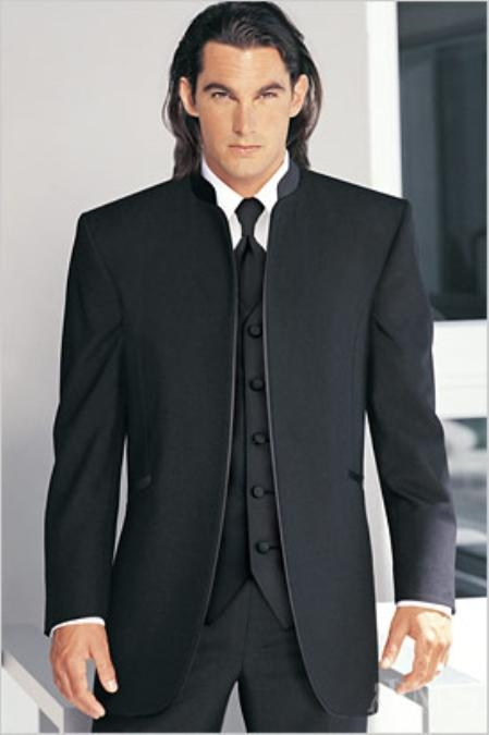 SKU#MI227 Fitted Slim Fitc Cut Mirage Tuxedo Satin Mandarin Collar (Solid Black ) No Buttons $299